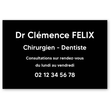 Plaque professionnelle personnalisée en PVC pour dentiste, chirurgien dentiste - 1 à 5 lignes de texte - Format 30 x 20 cm - Argent lettres noires - Adhésif 3M - Argent lettres noires
