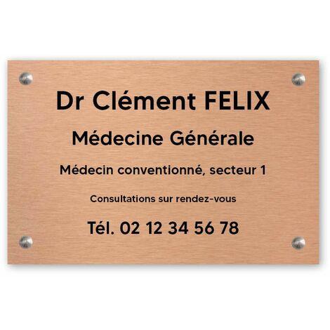 Plaque professionnelle personnalisée en PVC pour médecin - 1 à 5 lignes de texte - Format 30 x 20 cm - Noire lettres blanches - Adhésif 3M - Noire lettres blanches