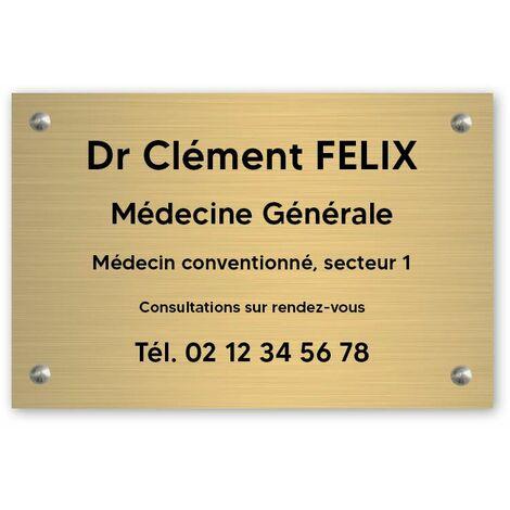Plaque professionnelle personnalisée en PVC pour médecin - 1 à 5 lignes de texte - Format 30 x 20 cm - Plastique - Vis + chevilles + cache vis - Plastique