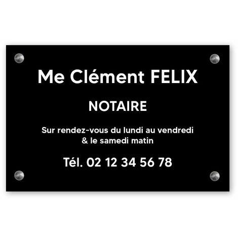 Plaque professionnelle personnalisée en PVC pour notaire, office notarial - 1 à 5 lignes de texte - Format 30 x 20 cm - Plastique - Vis + chevilles + cache vis - Plastique