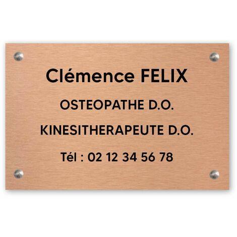 Plaque professionnelle personnalisée en PVC pour ostéopathe, kiné - Gravure sur 1 à 5 lignes - Format 30 x 20 cm - Or lettres noires - Adhésif 3M - Or lettres noires
