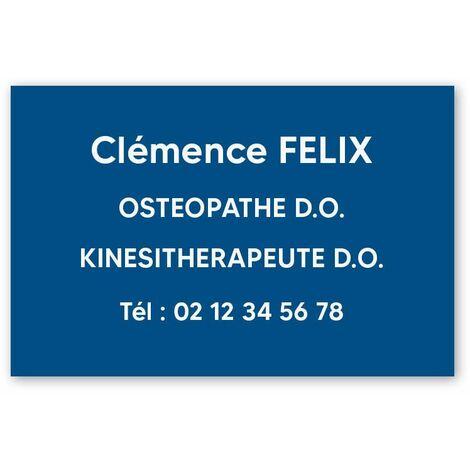 Plaque professionnelle personnalisée en PVC pour ostéopathe, kiné - Gravure sur 1 à 5 lignes - Format 30 x 20 cm - Plastique - Adhésif 3M - Plastique