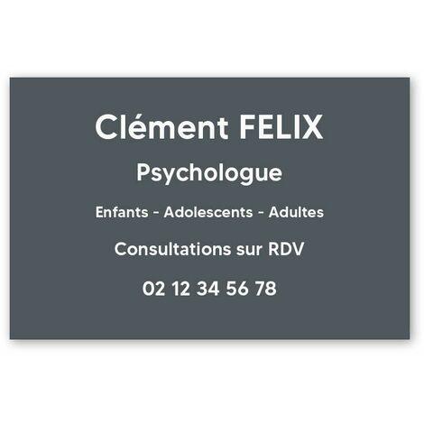 Plaque professionnelle personnalisée en PVC pour psychologue, sophrologue - 1 à 5 lignes de texte - Format 30 x 20 cm - Gris lettres blanches - Adhésif 3M - Gris lettres blanches