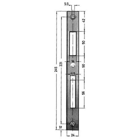 Plaque serrure fermeture Nr 0129-03-24/245X24X2 mm verz