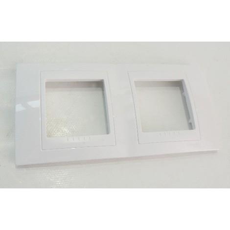 Plaque UNICA double blanche 2 postes 2X2 modules horizontale entraxe 71mm