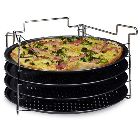 Plaques de cuisson pizza lot de 4 avec support HxlxP : 20 x 32 x 32 cm avec perforation lot de plaques rondes pour le four cuisine pour pizza et flammküche revêtement antiadhésif, anthracite