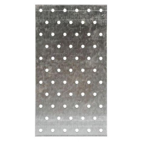 Plaques perforées acier galvanisé, largeur 40 mm, longueur 120 mm, carton de 100 plaques