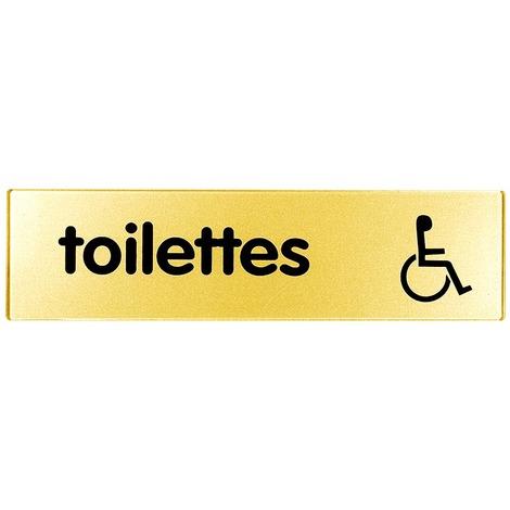 Plaquette 170x45mm - Toilettes Handicapés - Argent & Or