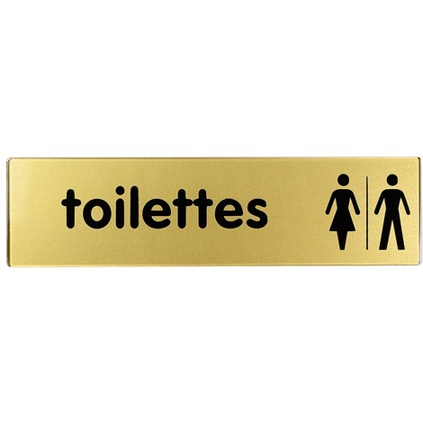 Plaquette 170x45mm - Toilettes Hommes-Femmes - Argent & Or