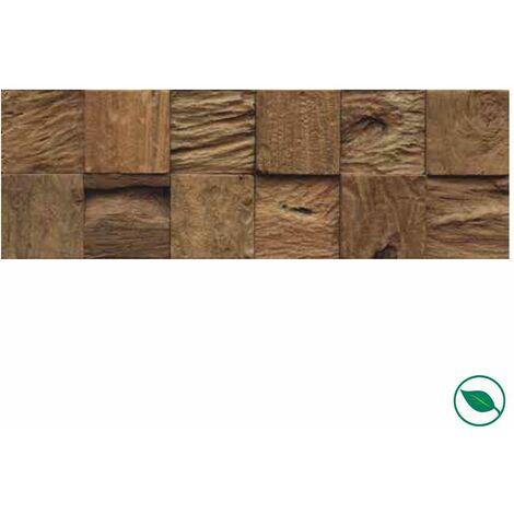 Plaquette de parement mural en teck cube Bali 552 x 184 x 10-20 mm paquet de 1,016 m².
