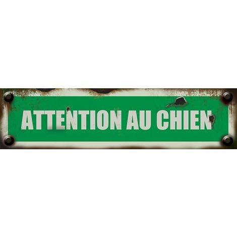 Plaquette vintage Attention au chien - Rigide 170x45mm - 4019406