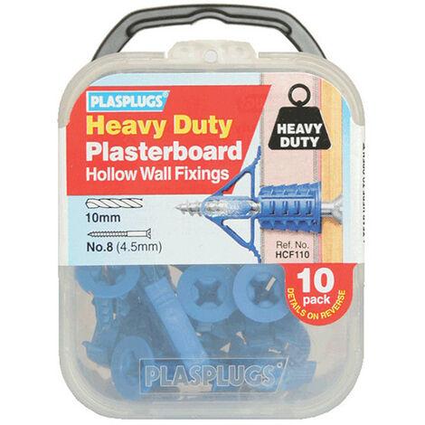 Plasplugs PLAHCF110 HCF110 Heavy-Duty Plasterboard Fixings Pack of 10