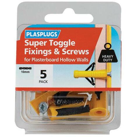 Plasplugs PLAHWSTS05 Super Toggle Fixings & Screws Pack of 5