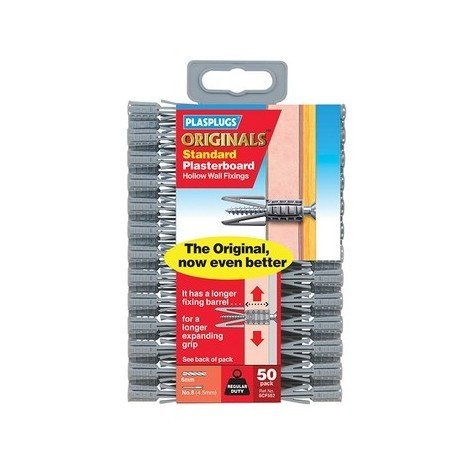 Plasplugs SCF 552 Originals Plasterboard Fixings Pack of 50