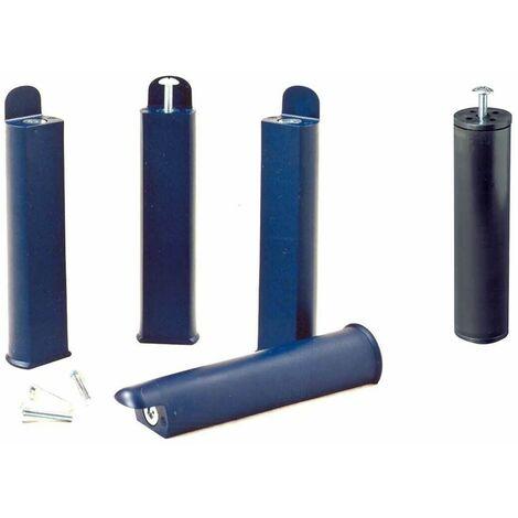 PLAST - Jeu de 4 pieds 22 cm bleus + pied central pour cadre à lattes - Bleu