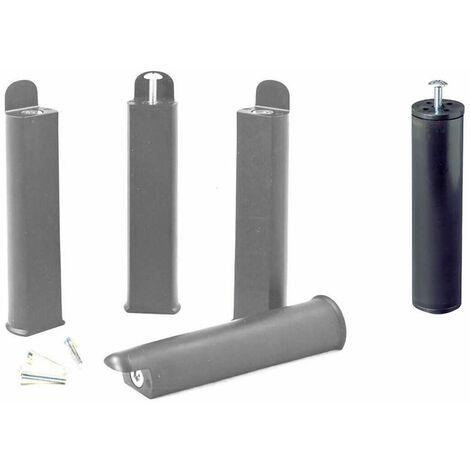PLAST - Jeu de 4 pieds 22 cm gris + pied central pour cadre à lattes - Gris
