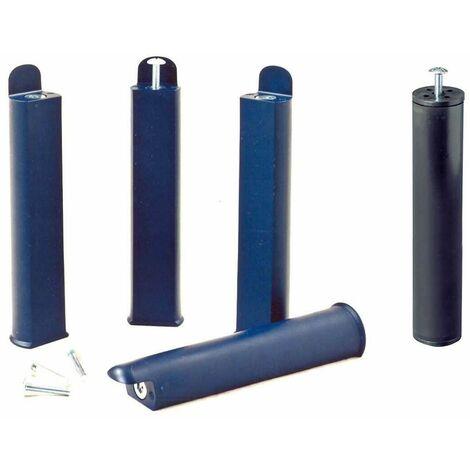 PLAST - Jeu de 4 pieds 28 cm bleus + pied central pour cadre à lattes - Bleu