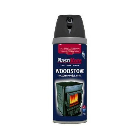 Plasti-Kote PKT26030 Wood Stove Twist & Spray Black 400ml