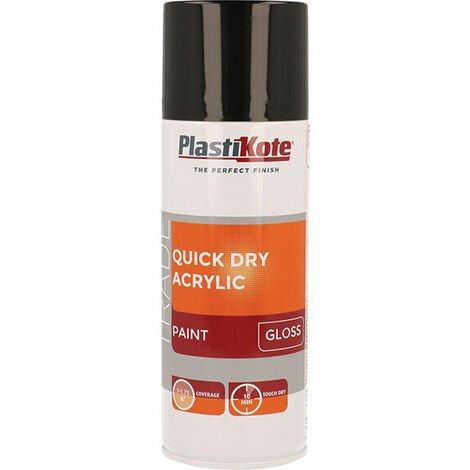 Plasti-Kote PKT71009 Trade Quick Dry Acrylic Spray Paint Gloss Black 400ml