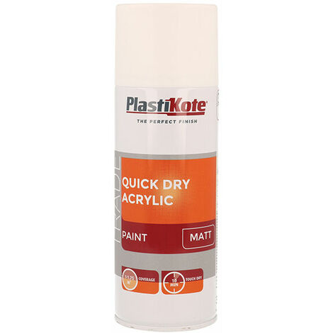 Plasti-Kote PKT71010 Trade Quick Dry Acrylic Spray Paint Matt White 400ml