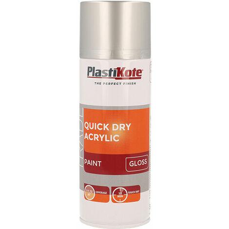Plasti-Kote PKT71013 Trade Quick Dry Acrylic Spray Paint Gloss Silver 400ml