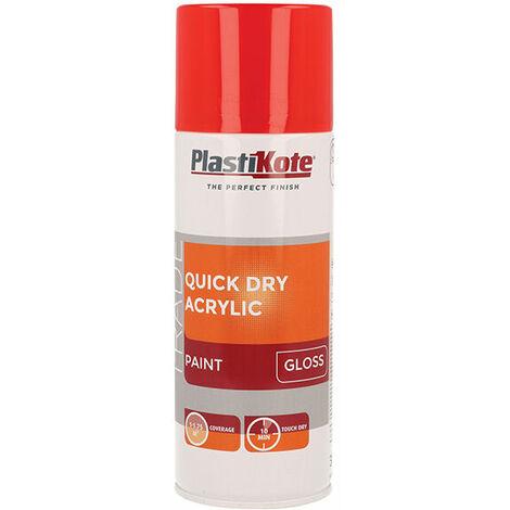 Plasti-Kote PKT71014 Trade Quick Dry Acrylic Spray Paint Gloss Red 400ml