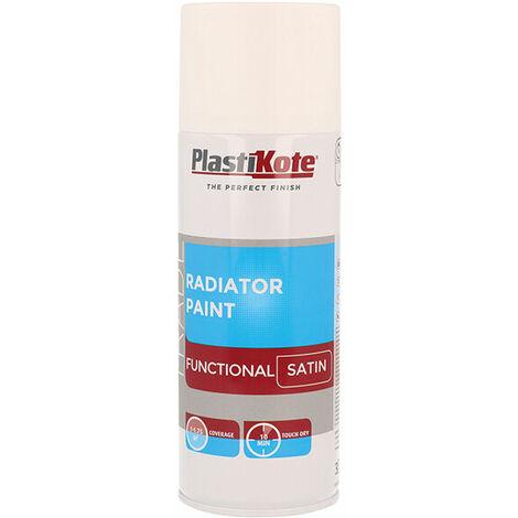 Plasti-Kote PKT71017 Trade Radiator Spray Paint Satin White 400ml