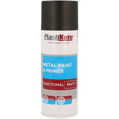 Plasti-Kote PKT71023 Trade Metal Spray Paint & Primer Matt Black 400ml