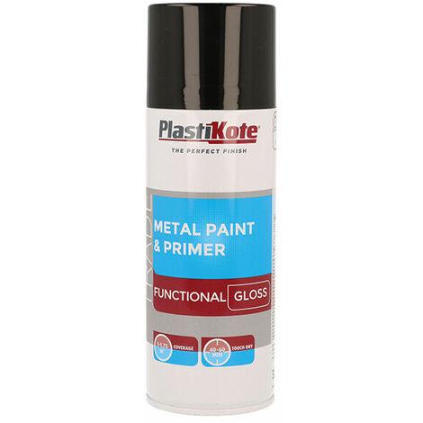 Plasti-Kote PKT71024 Trade Metal Spray Paint & Primer Gloss Black 400ml