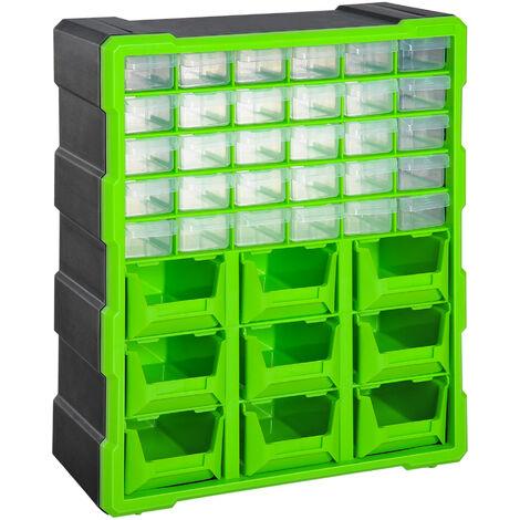 Plastic 39 Drawer Parts Organiser Wall Mount Storage Cabinet Garage DURHAND - Green
