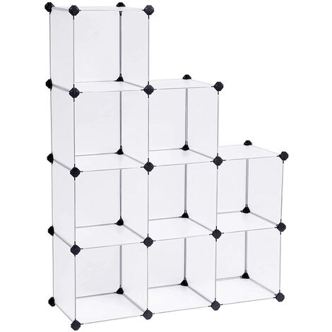 Plastic Closet Wardrobe Cabinet Bathroom Shelf Shoe Rack White 93 x 123 x 31 cm LPC115S