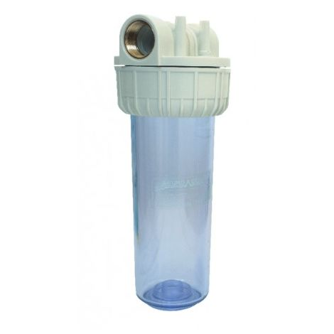 Plastic container for filtering cartridge