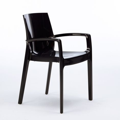 CREAM Grand Soleil Polypropylene Stackable Chair with Armrests for Kitchen and Bar | Black