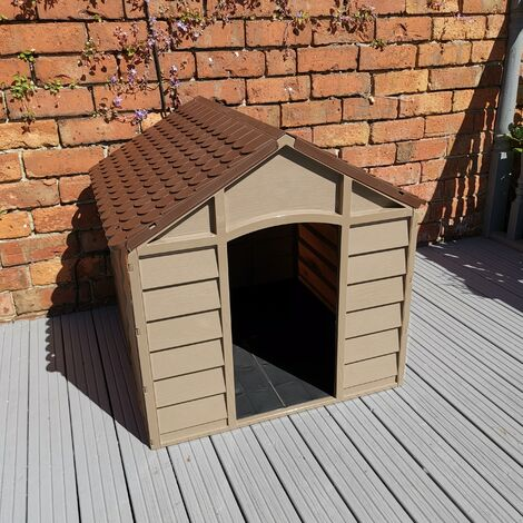 """main image of """"Plastic Dog Kennel / House in Brown Garden Patio – 71cm x 71cm x 68cm"""""""