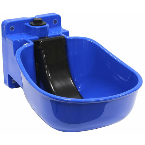 Plastic drinking trough with black paddle