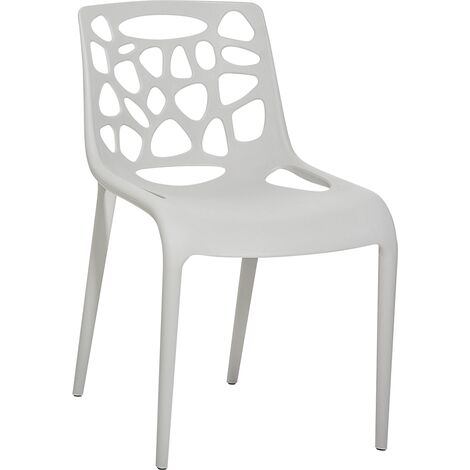Plastic Garden Dining Chair - MORGAN - Light Grey