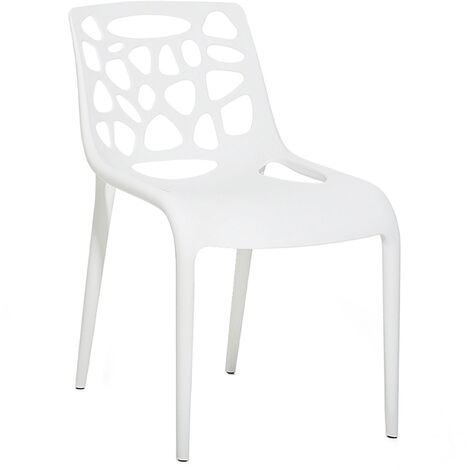 Plastic Garden Dining Chair White MORGAN