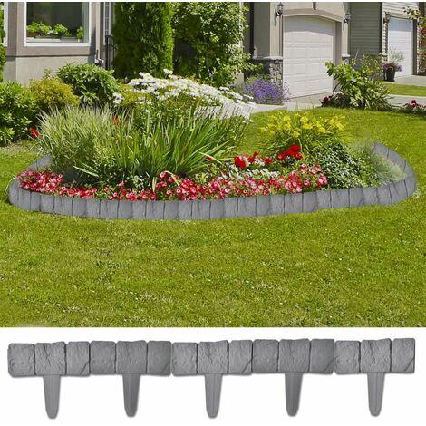 Plastic Garden / Lawn Fence Stone Look 41 pcs 10 m VDTD26305