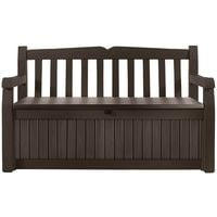 Plastic Garden Storage Bench Box 256 Liter Capacity Brown