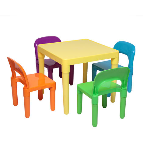 Plastic Play Activity Children Kids Table and Chair Set, One Desk And Four Chairs (50x50x46cm)
