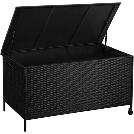 Plastic Rattan Storage Bench, Waterproof, 400L, with Auto-Return Cylinder, for Outdoor Toys, Garden Tools, Patio Furniture Cushion, 121 x 56 x 60.5 cm, Brown/Black