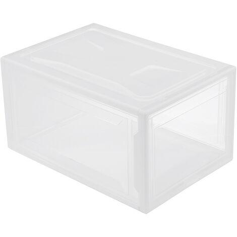 Plastic Shoe Storage Box Transparent Case Stackable Organizer Cabinet