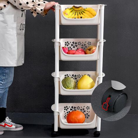 Plastic Shower Shelf Kitchen Trolley Fruits Storage Basket Rolling Rack