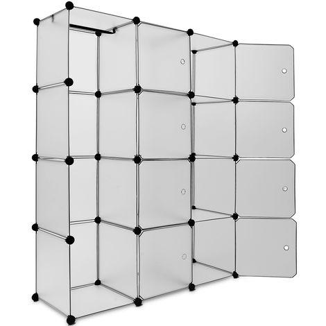 "main image of ""Plastic Wardrobe Storage Shelf Rack Organiser Cube Shelfing System DIY Cupboard"""