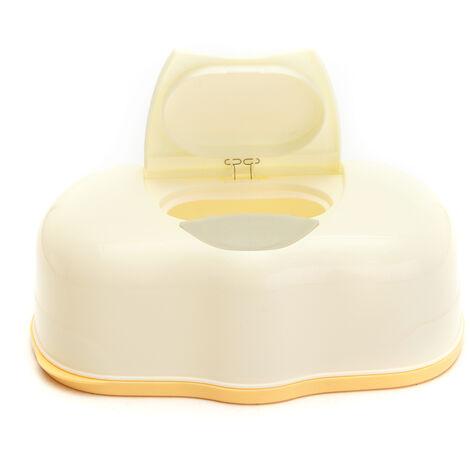 Plastic Wet Tissue Box Automatic Box Genuine Tissue Case Baby Wipes Pop-up Press Home Design Tissue Holder Accessories (Yellow)