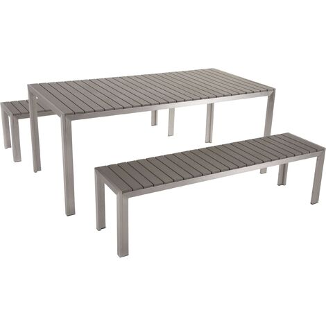 Plastic Wood Garden Dining Set Grey NARDO