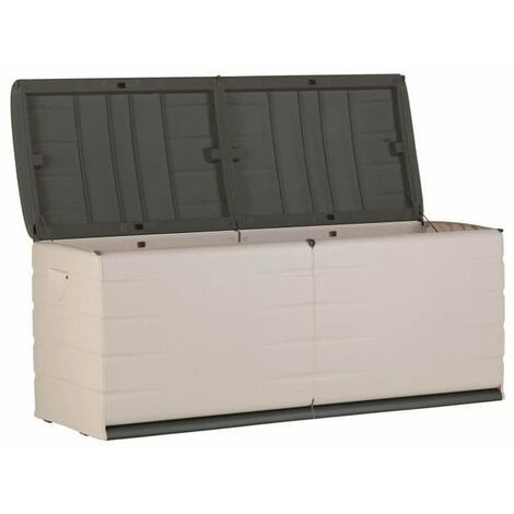 PLASTIKEN Coffre 450L Intérieur/Extérieur Fonctionnel et Esthétique Cadenassable avec Roulettes Beige et Gris Foncé