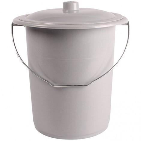 """main image of """"PLASTINOX - Seau de toilette pour adulte 12L + couvercle - gris clair"""""""