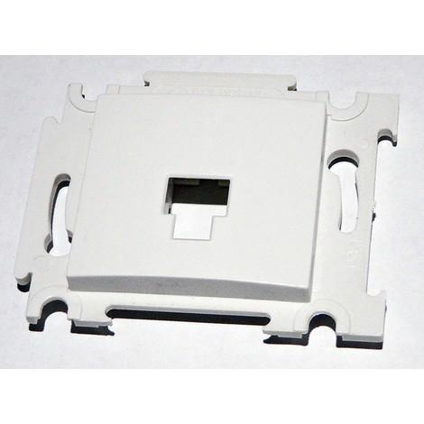 Plastron simple blanc à équiper pour prise RJ45 CAT5E ou CAT6 (noyau non incl) fixation griffes ALTERNATIVE ELEC AE52013A