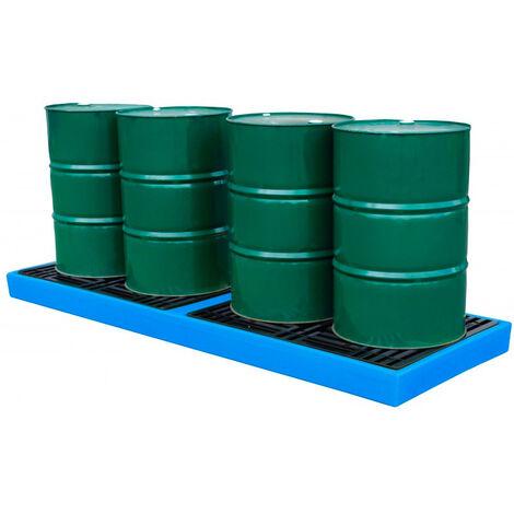 Plataforma de retención para 4 bidones de 200 litros en linea